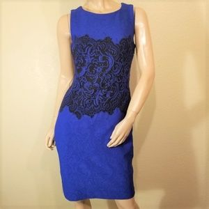 Joseph Ribkoff 6 Blue w/ Black Sleeveless Dress